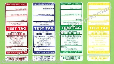 1000 (250 of each colour)  CUSTOM Printed Electrical Adhesive Test Tag Labels