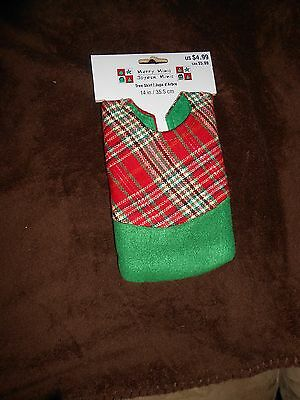 """Merry Minis Red Plaid Green Edging Tree Skirt - 14"""" - Brand NEW w/Tag"""