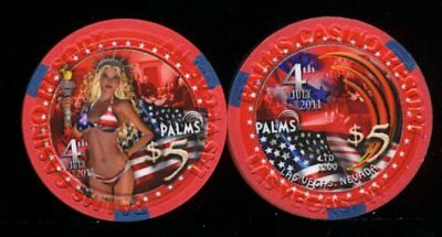 $5 Palms 4th of July 2011 Las Vegas Casino Chip Uncirculated