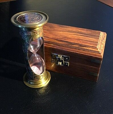Sand Timer/Hour Glass Solid Brass in a Hardwood Box