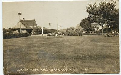 1910 Litchfield Minnesota Great Northern Railroad depot Real Photo Postcard RPPC