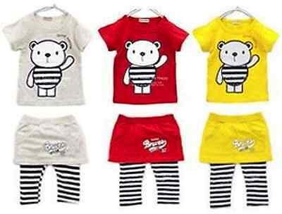 Baby's Girl's T-Shirt / Top + Skirt Leggings Pants Outfit / Dress Set Age 1-5 Y