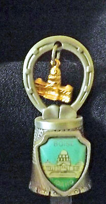 """Pewter Charm Thimble Capitol Boise Idaho approx: 1 3/4"""" high x 3/4"""" wide"""