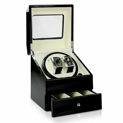 DELUXE DRAW Time Tutelary Dual Black Watch Winder KA073 For 2 Automatic watches