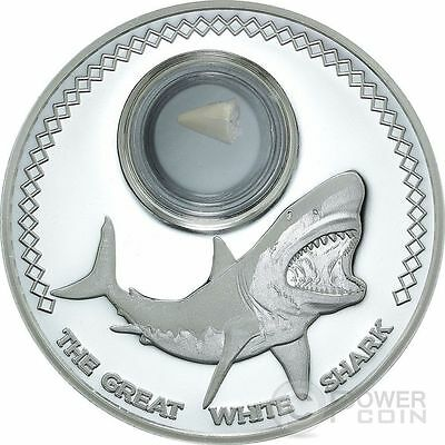 SHARK TOOTH Fossilized Great White Shark 1 Oz Silver Coin 5$ Tokelau 2014