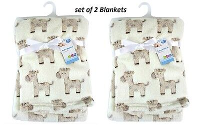 Set Of 2 Baby Newborn Soft Fleece Blanket Pram Crib Moses Basket Girl Boy Unisex