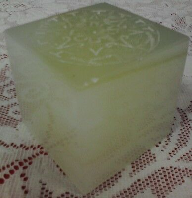 VINTAGE GLASS SQUARE PAPERWEIGHT MADE IN MEXICO