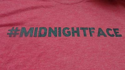 """KAHLUA T Shirt - """"#MIDNIGHTFACE"""" - Red Heather - Adult Large - Soft & Stretchy"""