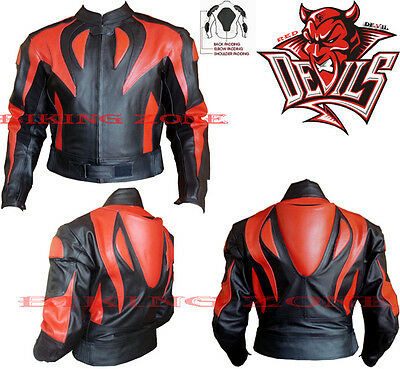 Red Devil Style Mens Ce Approved Armour Motorbike / Motorcycle Leather Jacket