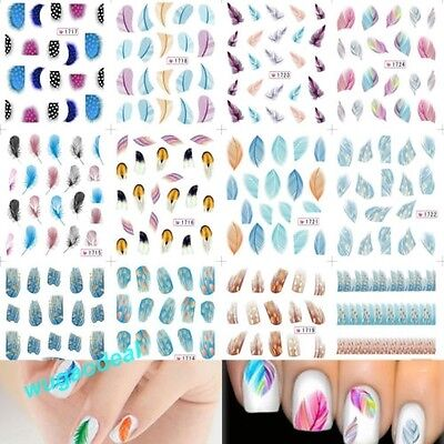 Hot Water Transfer Stickers Nail Art Tips Diy Feather Decals Rainbow