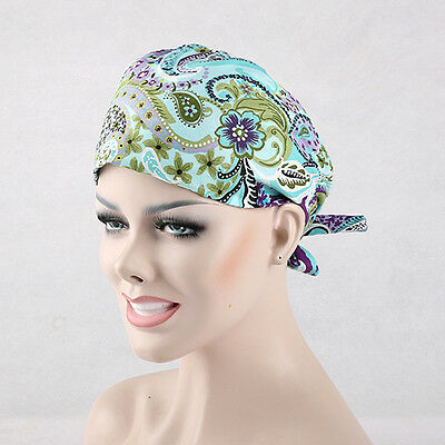 Cotton flower Pattern Print Scrub Skull Medical Surgical Surgery Hat/Cap Chef