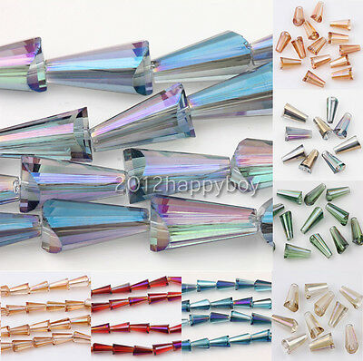 Wholesale 25/50Pc Faceted Glass Crystal Charms Teardrop Spacer Loose Beads 8x4mm