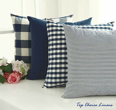 Home Decorative French Provincial Check/Plaid/Stripes Cushion Cover- Navy Blue