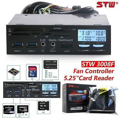 "STW 3008F 5.25"" LCD Fan Controller Media Panel USB 3.0 High Speed Card Reader"