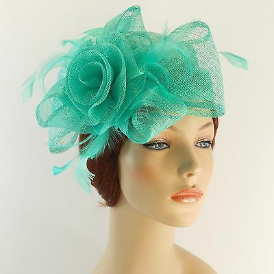New Woman Church Derby Wedding Sinamay Pillbox Dress Hat SDL-009 Mint