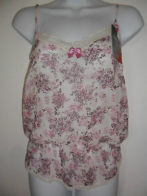 New M&s Runway Collection Camisole Vest Top Floral Gathered Size 10 12