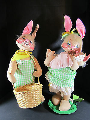 """VINTAGE ANNALEE 18"""" RABBITS - MOM WITH BABY & DAD WITH BASKET"""