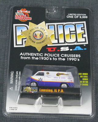Racing Champions, Police U.s.a., Lansing, Il P.d., 1975 Chevy Van, Issue # 102