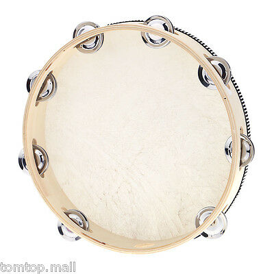 """10"""" Hand Held Tambourine Drum Bell Metal Jingles Percussion Toy for KTV Party"""
