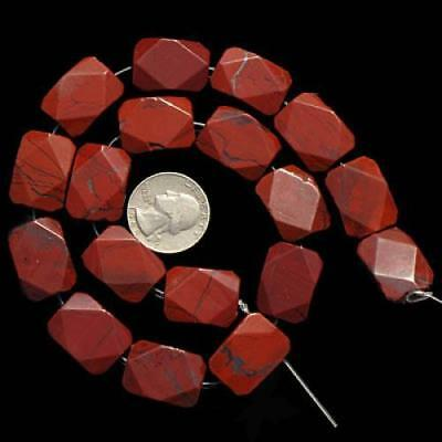16x22mm Red Picture Jasper Faceted Rectangle Gemstone Loose Beads Strand 15.5""