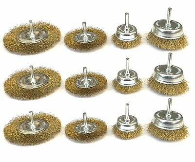 "12 Assorted drill wire wheels, wire brush attachments for drills 1/4"" shank"