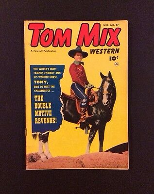TOM MIX WESTERN #57 Golden Age Comic Book Fawcett 1952 Photo Cover Vintage Fine