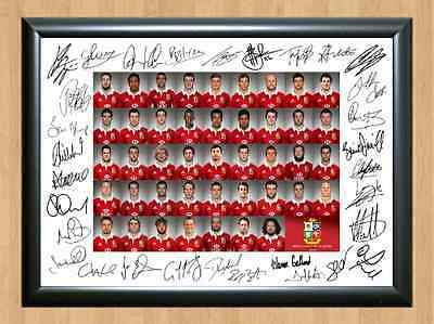 Lions British and Irish Squad Team 2013 Autographed Signed A4 Photo Poster Print