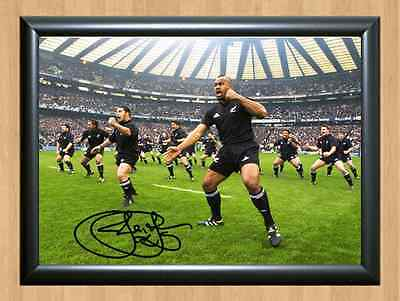 Jonah Lomu Rugby All Blacks Haka New Zealand Autographed SIGNED A4 PRINT POSTER