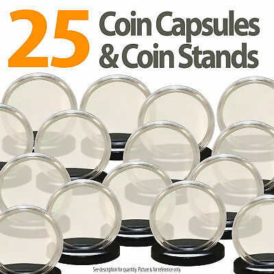 25 Coin Capsules & 25 Coin Stands for QUARTERS Direct Fit Airtight 24mm Holders