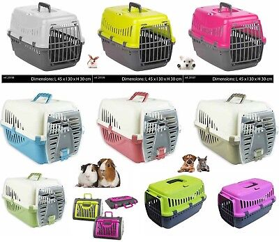 Plastic Pet Cat Dog Carrier Travel Basket Cage Outdoor Medium Pink Green Silver