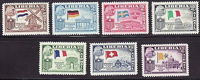 Liberia # 368-70 C114-17 MNH France, Germany, Sweden, Italy, Netherlands Flag