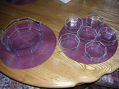 VTG. Arcoroc France OCTIME Clear Glass Salad or Dessert Set, 7 pieces total, NUC
