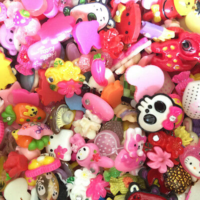 Assorted Lot of Cute Resin Flatback Cabochons DIY Craft Kit Supplies Decoration