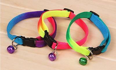 Adjustable Colourful Pet Small Dog Puppy Cat Kitten Collar With Bell 24-34CM