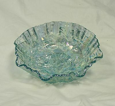 Vintage Lenox Imperial (LIG) Carnival Glass Dish, Ice Blue, Iridescent, Roses