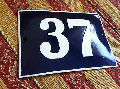 ANTIQUE VINTAGE FRENCH ENAMEL SIGN HOUSE NUMBER 37  DOOR GATE SIGN 1950's