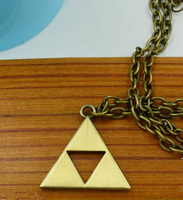 AAA New Hot Legend of Zelda Necklace Pendant Metal Triforce +chain
