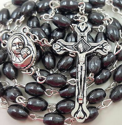Hematite Rosary Black Stone Oval Beads Jerusalem Soil Catholic Crucifix Necklace