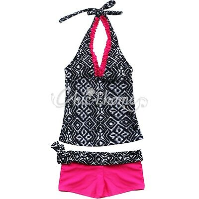 Nwt Girls Size 7-14 Two Piece Swim Bathing Suit Bikini Kids Swimwear Tankini Set