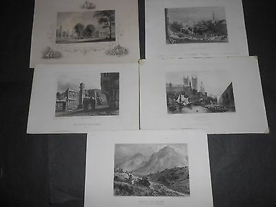 1850 Lot Of 5 Steel Engravings London, New York, Ellora India, Yale College, Usa