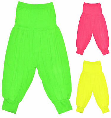Girls Neon Harem Pants New Kids Dance Ali Baba Trousers Pants Ages 7 - 13 Years
