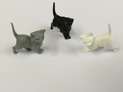 Pack of Three Tiny Plastic Kittens, Doll House Miniature Pets & Animals