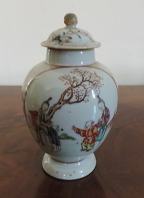 Antique Chinese Porcelain Tea Caddy 18th century Vase Famille Rose Export 1765