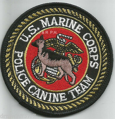 """U.S. Marine Corps  Canine Team (3"""" round) shoulder police patch (fire)"""