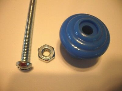 Vtg NOS BLUE Drawer Knobs Cabinet Door Handles Stair Stepped Face Early Plastic