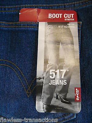 LEVI JEANS 13 M Jr 517 Stretch Bootcut Denim Blue Jean Levis 36 x 32 NEW w TAG