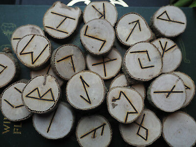 Hazel Elder Futhark Runes - with Bag & Information sheet - Pagan, Wicca,  Norse