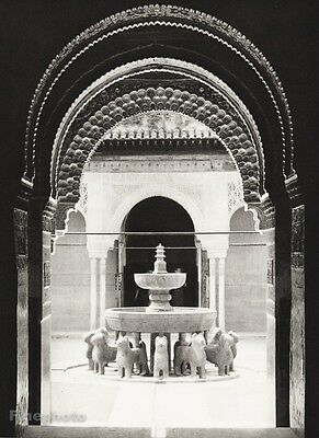 1934 Vintage 11x14 SPAIN Granada Lowenhof Alhambra Statue Architecture Photo Art