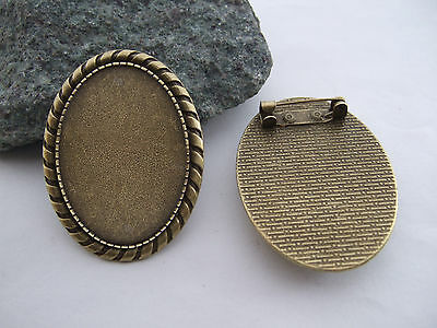 Lot 1-10pcs Vintage Bronze 25x35mm Oval Blank Setting Cameo Cabochon Brooch Pin