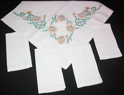 "VINTAGE LUNCHEON TABLE 32""SQ CLOTH LINEN/COTTON FLORAL EMBROIDERY w/4 NAPKINS"